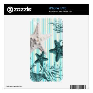 nautical stripes aqua blue starfish seashells decal for the iPhone 4