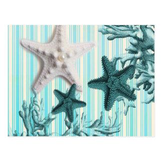 nautical stripes aqua blue starfish seashells postcard