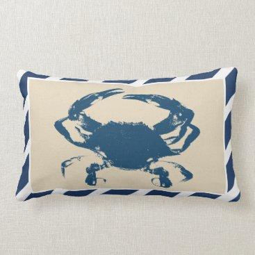 Beach Themed Nautical Stripes & Blue Crab Coastal Style Lumbar Pillow