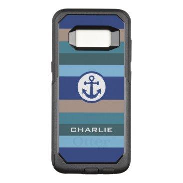 Beach Themed Nautical Stripes custom monogram phone cases