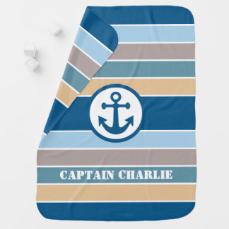 Nautical Stripes custom text baby blanket