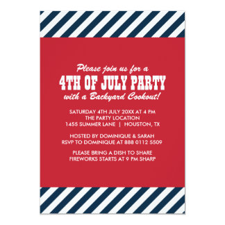 Nautical Stripes Fourth of July Party Invitation