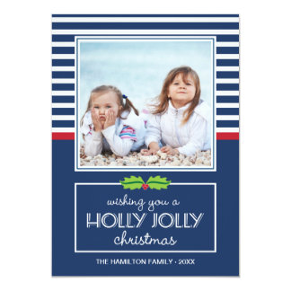 Nautical Stripes Holly Jolly Christmas Flat Card Invite