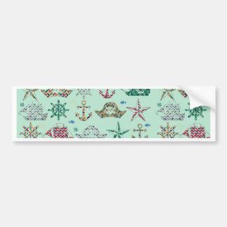 Nautical Stripes Icon Bumper Sticker