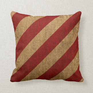 Nautical Stripes in Rustic Red Throw Pillow