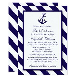 Nautical Stripes & Navy Blue Anchor Bridal Shower Card