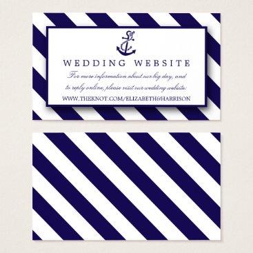 Beach Themed Nautical Stripes & Navy Blue Anchor Wedding Business Card