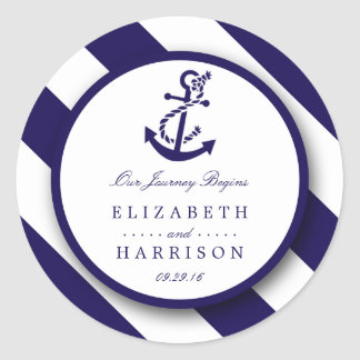 Nautical Stripes & Navy Blue Anchor Wedding Classic Round Sticker