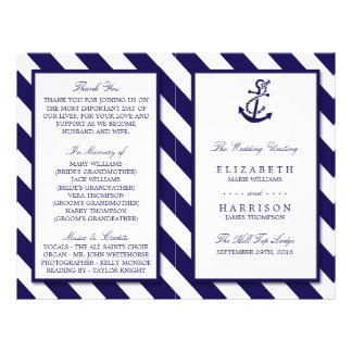Nautical Stripes & Navy Blue Anchor Wedding Flyer