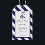 """Nautical Stripes & Navy Blue Anchor Wedding Gift Tags<br><div class=""""desc"""">These gift tags are perfect for any couple planning a romantic marriage by the sea. The design features a whimsical navy blue anchor motif on a nautical navy and white striped background. The simple design can be personalized to suit your special event and will be the perfect favor for any...</div>"""