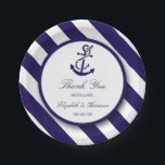 """Nautical Stripes &amp; Navy Blue Anchor Wedding Paper Plate<br><div class=""""desc"""">These paper plates are perfect for any couple planning a romantic marriage by the sea. The design features a whimsical navy blue anchor motif on a nautical navy and white striped background. The simple design can be personalized to suit your special event and will be the perfect accessory for any...</div>"""