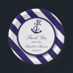 "Nautical Stripes &amp; Navy Blue Anchor Wedding Paper Plate<br><div class=""desc"">These paper plates are perfect for any couple planning a romantic marriage by the sea. The design features a whimsical navy blue anchor motif on a nautical navy and white striped background. The simple design can be personalized to suit your special event and will be the perfect accessory for any...</div>"