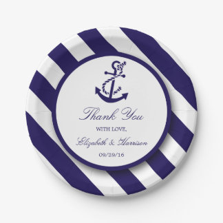 Nautical Stripes & Navy Blue Anchor Wedding Paper Plate