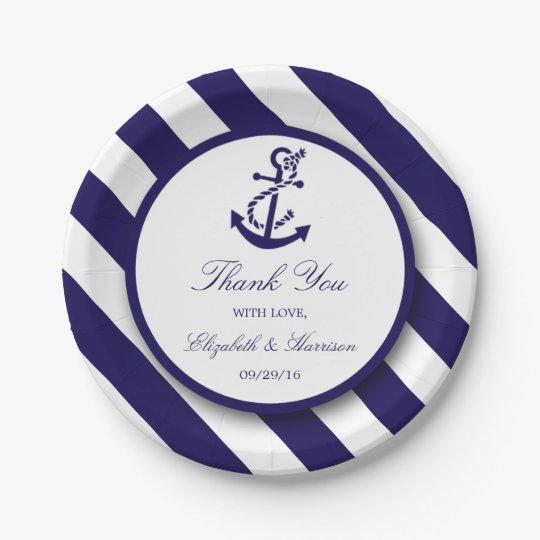 nautical stripes navy blue anchor wedding paper plate. Black Bedroom Furniture Sets. Home Design Ideas