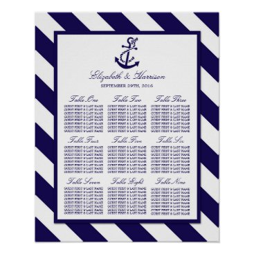 Beach Themed Nautical Stripes & Navy Blue Anchor Wedding Poster
