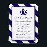 """Nautical Stripes &amp; Navy Blue Ship Save The Date Magnet<br><div class=""""desc"""">These save the date magnets are perfect for any couple planning a romantic marriage by the sea. The design features a whimsical navy blue ship motif on a nautical navy and white striped background. The simple design can be personalized to suit your special event and will be the perfect announcement...</div>"""
