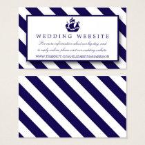 Nautical Stripes & Navy Blue Ship Wedding Business Card