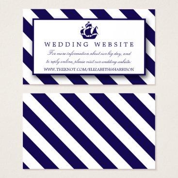 Beach Themed Nautical Stripes & Navy Blue Ship Wedding Business Card