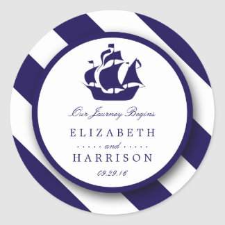 Nautical Stripes & Navy Blue Ship Wedding Classic Round Sticker