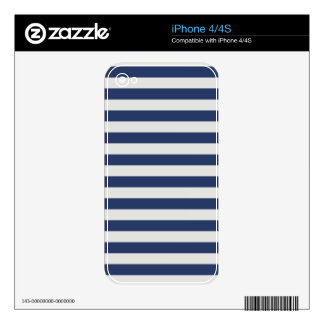 Nautical Stripes Navy White Decal For iPhone 4