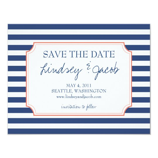 Nautical Stripes Save the Date Card