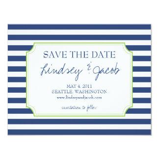 Nautical Stripes Save the Date 4.25x5.5 Paper Invitation Card