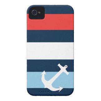 Nautical stripes sea anchor navy blue iPhone 4 cases