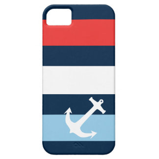 Nautical stripes sea anchor navy blue iPhone 5 cover