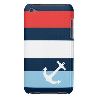 Nautical stripes sea anchor navy blue Case-Mate iPod touch case