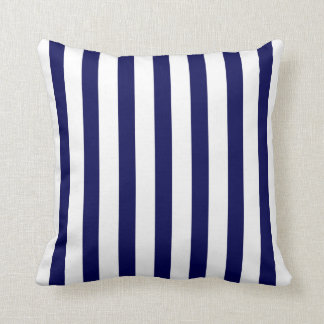 Nautical Stripes Thin CHOOSE YOUR BACKGROUND COLOR Throw Pillow