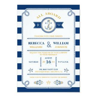 "Nautical Stripes Wedding Invitation 5"" X 7"" Invitation Card"