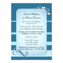 Nautical Stripes Wedding Reception Only Invitation