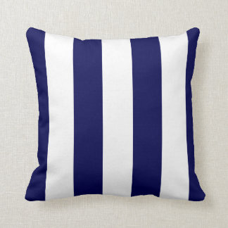 Nautical Stripes Wide CHOOSE YOUR BACKGROUND COLOR Throw Pillow