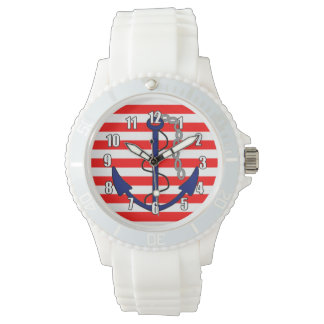 Nautical Stripes with Ships Anchor Red White Blue Wrist Watch