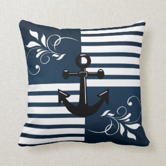 Nautical Stripes with White Accents and Anchor Throw Pillows