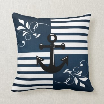 Beach Themed Nautical Stripes with White Accents and Anchor Throw Pillow