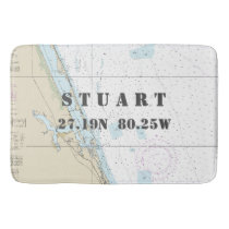 Nautical Stuart FL Longitude Latitude Chart Bath Mat