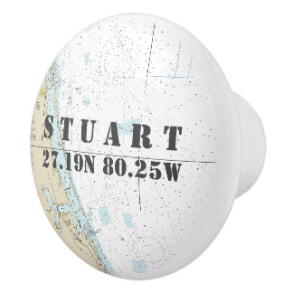 Nautical Stuart, Florida Latitude Longitude Chart Ceramic Knob