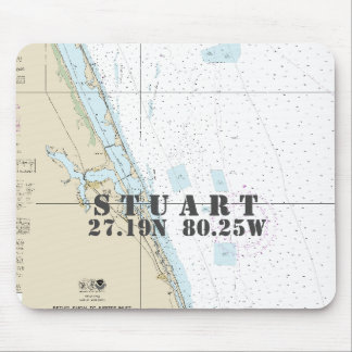 Nautical Stuart Florida Latitude Longitude Mouse Pad