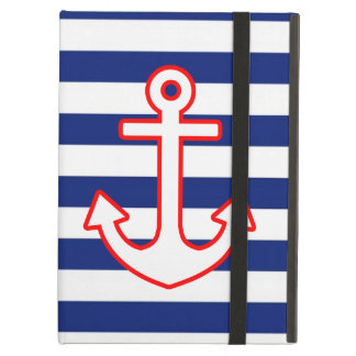 Nautical Style Anchor Icon on Stripes iPad Air Case