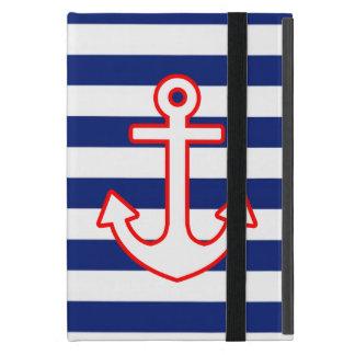 Nautical Style Anchor Icon on Stripes iPad Mini Case
