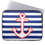 Nautical Style Anchor Icon on Stripes Laptop Computer Sleeve