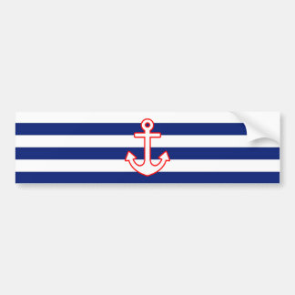 Nautical Style Anchor on Stripes Bumper Sticker