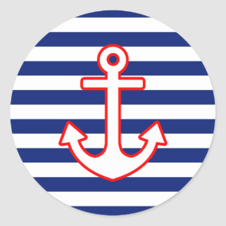 Nautical Style Anchor on Stripes Classic Round Sticker