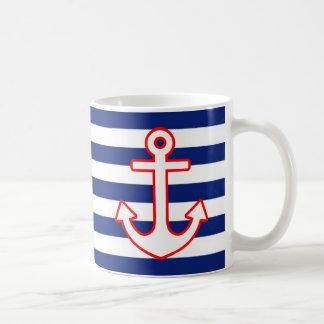 Nautical Style Anchor on Stripes Coffee Mug