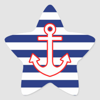 Nautical Style Anchor on Stripes Decor Star Sticker