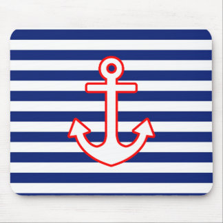 Nautical Style Anchor on Stripes Mouse Pads