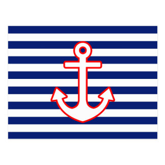 Nautical Style Anchor on Stripes Postcard