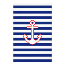 Nautical Style Anchor on Stripes Stationery