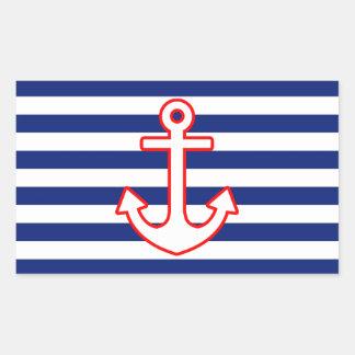 Nautical Style Anchor on Stripes Rectangular Sticker